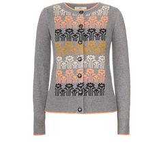 Orla Kiely: Cardigan with a fairisle front panel. Contrast tipping on neck, base and cuff. Button though to fasten.    Length: 59cm