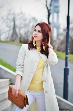 Spring jacket, yellow top, white trousers, luxury earings