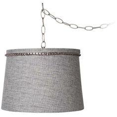 """Gray Tweed 14"""" Wide Brushed Steel Swag Chandelier -"""