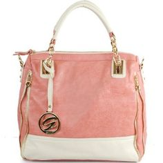 Amazon.com: New Arrival Fashion Solid Color Block Two Line Zipper Detail Embellishment Tote Satchel Handbag Purse with Adjustable Shoulder Crossbody Strap in Light Pink and White: Clothing