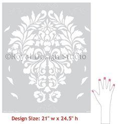 Large Wall Stencil Fabric Damask Allover Stencil for Easy DIY Wallpaper Decor. $49.00, via Etsy.