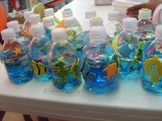 This would be a cute craft project for kinders: Oceans in a bottle!