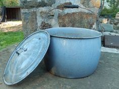 Antique Graniteware Pot with Lid Gray Swirl by RascalsRarities