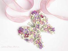 Лучшие работы : Бабочка из цветов - кулон из серии Нежная весна - Fito Art