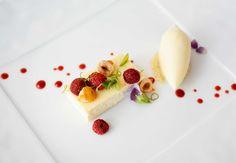 Wild strawberries, lemon ricotta cheesecake, strawberry reduction, pea flowers, caramelized hazelnuts and sweet cream ice cream.   langijo.com
