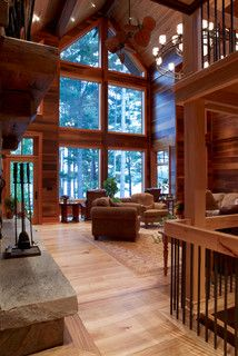 Cathedral ceiling living room by Lindal Cedar Homes
