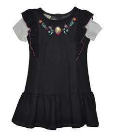 Love this Denim Blue Embroidered Layered Dress - Infant by Samara on #zulily! #zulilyfinds
