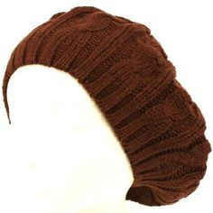 Cable Knit Winter Ski Beret Knit Tam Skull Hat Brown Knit Caps. $16.95