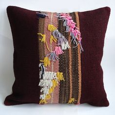 Sukan / Hand Woven - Turkish Capitli Patchwork Kilim Pillow Cover - 16x16 140$