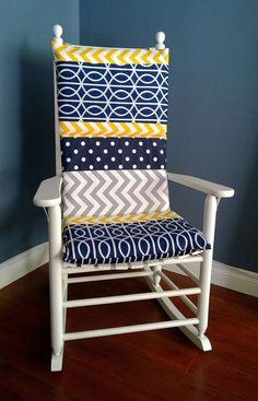 Rocking Chair Cushion  Blue Grey Yellow Multi by RockinCushions, $75.00