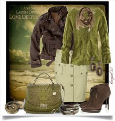 """Sunset Green"" by leegal57 ❤ liked on Polyvore"