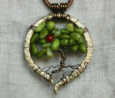 Significance of Tree of Life   Single Fruit - wire wrapped Tree of Life pendant by Shendorion