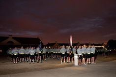 Red Devil paratroopers stand in formation for a battalion run on Fort Bragg.