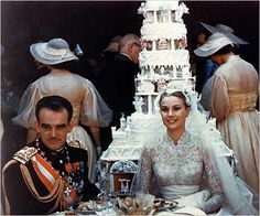 Six-Tier Wedding Cake for Prince Rainier III and Miss Grace Kelly's on April 19, 1956. Sliced with Prince Rainier's sword during the reception.