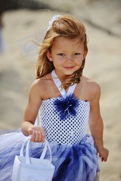 Nautical blue flowy flower girl dress
