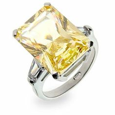 Sterling Silver Jewelry - Paris Hilton Replica Canary CZ Engagement Ring