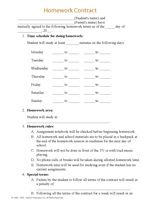 Printable Homework Contract  Homework Homework Chart And