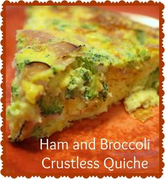 Ham and Broccoli Crustless Quiche is a great low carb, high protein breakfast or lunch option! Easy to prepare and you can customize it to your liking!