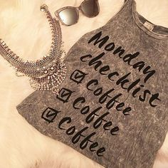 We'll take our coffee with a side of cool shades and a statement necklace.  @styleglamchic