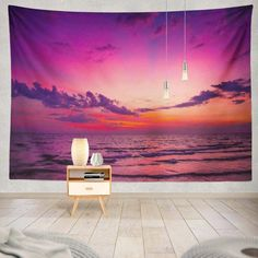 The Pink Seaside Tapestry is a Tapestry Girls EXCLUSIVE. Relax and let the vibes and styles of The Pink Seaside Tapestry set the mood for your room! Get The Pink Seaside Tapestry ONLY at Tapestry Girls! Tapestry Nature, Dorm Tapestry, Tapestries, First Bank, College Dorm Rooms, Bedroom Themes, Decor Styles, Seaside, The Good Place
