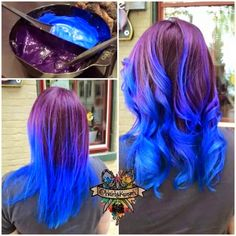 Purple to blue ombre hair color match~ love this natural effect done by VP hair color specialist .so freaking cool! Purple Blue Ombre, Brown Ombre Hair, Ombre Hair Color, Cool Hair Color, Hair Colors, Love Hair, Gorgeous Hair, Westminster, Farmasi Cosmetics