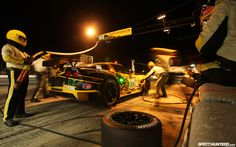 Nighttime pit stop for Corvette Racing at the 12 Hours of Sebring.
