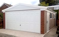 Double Apex prefab garage with high eaves Prefab Garages, Concrete Garages, Garage Doors, Outdoor Decor, Home Decor, Decoration Home, Room Decor, Home Interior Design, Carriage Doors