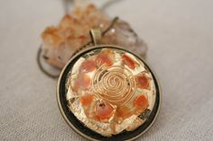 Reiki by ElementsOfLifeStore on Etsy Creating Positive Energy, Gold Wire, Carnelian, Ball Chain, Antique Gold, Im Not Perfect, Reiki Energy, Pendants, Serenity