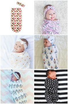 Adorable swaddling blankets in fun, funky patterns at Etsy shop Mint and Arrows.
