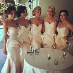 Glamorous bridesmaids dresses - classic old Hollywood style