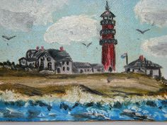 1979 New England Coast Line Mini Oil Painting by TheIDconnection, $30.00