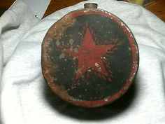 CONFEDERATE TEXAS MILITIA TIN DRUM CANTEEN with RED  PAINTED Star