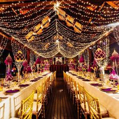 Two words to describe this decoration: stunning and breathtaking! Jaw-dropping with the exquisite use of lamp strands that decorate all over the venue giving a high dose of romanticism and elegance to the place. With the use of gold cream and purple ornament here and there this decoration is truly the epitome of a lavish and glamorous wedding ceremony setup! Who dreams of this decor too? Show some love if you do!  Photographer @liamcollardphotography / Flower Design @iamflowerphuket…