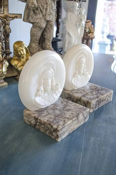 Antique Marble Bookends, Alabaster, Jesus Christ, Very Heavy, Gorgeous by edithandevelyn on Etsy