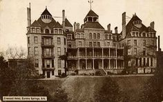 The Most Haunted Place in Every State -- Not only is Eureka Springs' Crescent Hotel a haunted hotel, but an entire website is devoted to it b. Eureka Springs Arkansas, Arkansas Usa, Most Haunted Places, Spooky Places, Victorian Buildings, Victorian Village, Haunted Hotel, Haunted Mansion, Ghost Tour