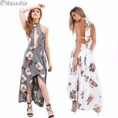 ENbeautter Sexy Backless Maxi Dress Printing Halter Cotton Dresses Women Summer Large Size Splice Hollow For Ladies Party