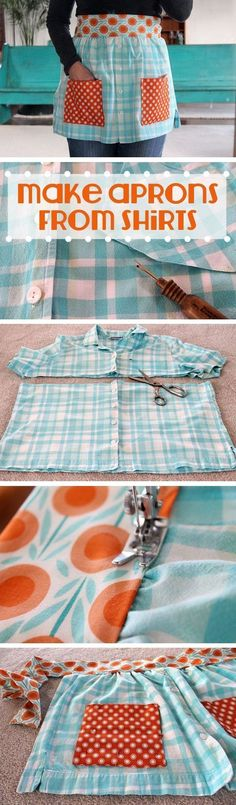 Make an adorable DIY apron from old t-shirts! Beth Huntington has the best ideas for transforming old shirts and things into new, fashion-forward wearable items. This is great for beginner sewers or experienced ones! Diy And Crafts Sewing, Diy Gifts Sewing, Diy Kid Gifts, Crafts To Make And Sell Ideas, Make To Sell, Crochet Ideas To Sell, Diy Projects To Sell, Sewing To Sell, Easy Craft Projects