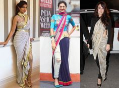 Tired of old Saree Drapes? Try 26 Modern Styles No one told you about - LooksGud.in Are you tired of wearing same old saree drapes? Learn how to wear saree in modern unique flowing style with our new 26 innovative saree styles that nobody told you. Dhoti Saree, Drape Sarees, Saree Draping Styles, Saree Styles, Silk Sarees, Indian Dresses, Indian Outfits, Saree With Pants, Estilo India