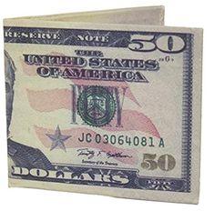 50 Dollar Bill Novelty Money Billfold Canvas Wallet - Brought to you by Avarsha.com
