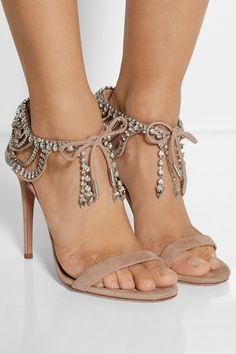 Aquazzura | + Olivia Palermo embellished suede sandals