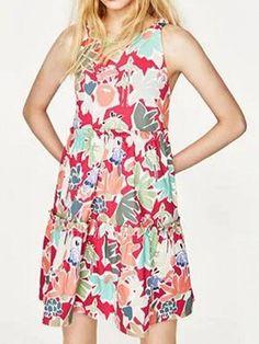 Polychrome Floral Cut Out Back Sleeveless Mini Dress