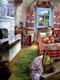 APH Ukraine — Ukrainian folk interior in the old houses (till. Ukraine, Russian Folk, Russian Art, Decoupage, Russian Culture, Ukrainian Art, Illustration, Arte Popular, My Heritage