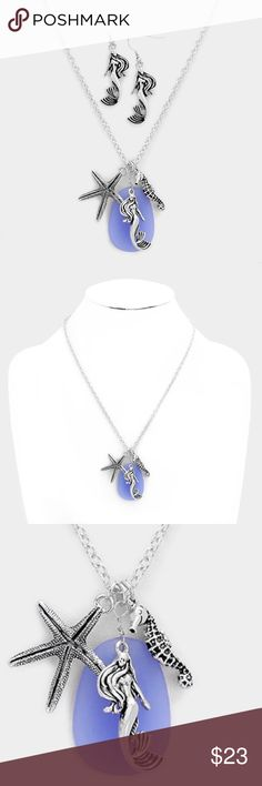 """Sea Life Charm Necklace Set • Theme : Mermaid, Sea Life  • Necklace Size : 20"""" + 3"""" L • Pendant Size : 1"""" X 1.5"""" • Earrings Size : 2"""" L • Mermaid, Starfish and Seahorse Pendant Necklace Jewelry Necklaces"""
