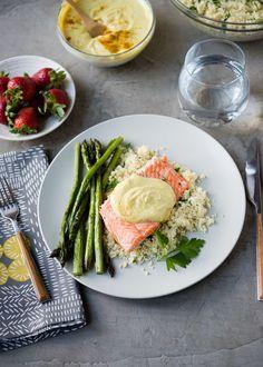 Salmon Sheet Pan Dinner with Asparagus, Curried Yogurt Sauce and Lemon Parsley Couscous | DesignMom.com