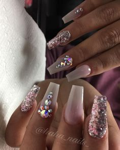 """1,093 Likes, 6 Comments - Hailey Ann Craner (@haha_nails_) on Instagram: """"Acrylic colors are """"moscato rose"""" and """"cloud 9"""" from @dchacrylic Swarovski crystals are from…"""""""