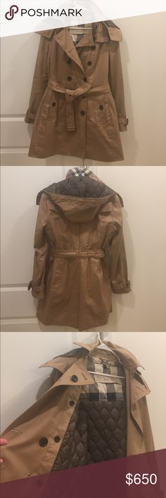 Worn once!! Burberry Trench Coat Worn once. Like new! Gorgeous, high quality crafted Burberry Brit trench Coat. Features removable hood and quilted vest. A versatile jacket, perfect for all types of weather. A classic trench you need in your closet! Burberry Jackets & Coats Trench Coats