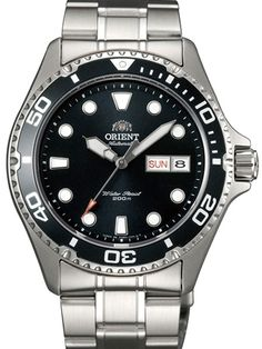 Orient Ray II Black Dial Automatic Dive Watch with SS Bracelet #AA02004B