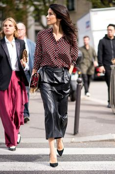 Leather Midi Skirt - Ridiculously Chic Street Style at Paris Fashion Week - Photos