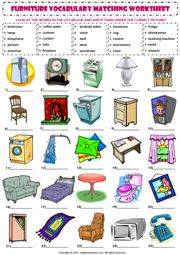 in my house furniture vocabulary matching exercise worksheet icon http://www.babelcoach.net/fr/vocabulaire_anglais/vocabulaire_clipart_meubles