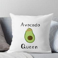 'Avocado Queen' Throw Pillow by chelseaniko Avocado Art, Cute Avocado, Cute Pillows, Throw Pillows, Avocado Gifts, Natural Bedroom, Teen Girl Bedrooms, Trendy Bedroom, Bedroom Themes